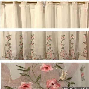 2pc Embroidered Kitchen Tiers Curtains NWOT